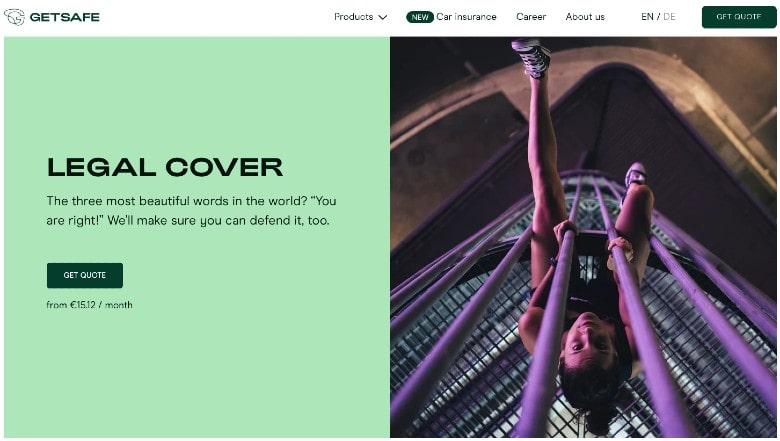 Getsafe homepage