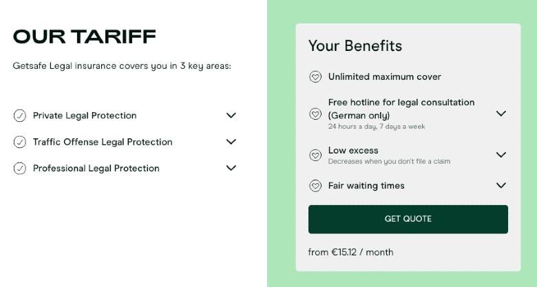 Getsafe legal insurance tariff