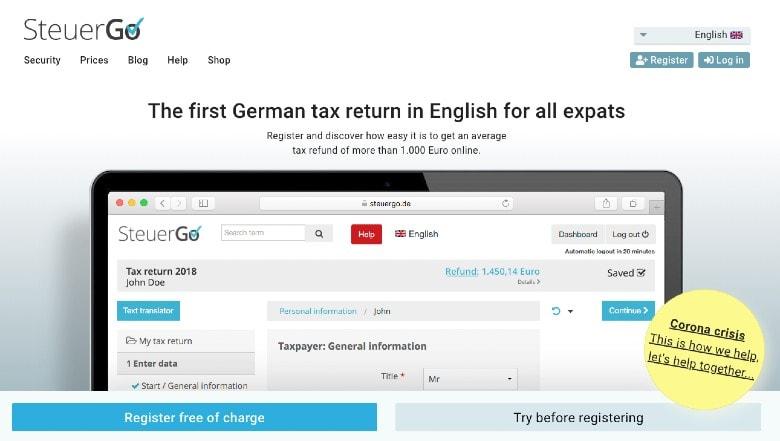Steuergo homepage
