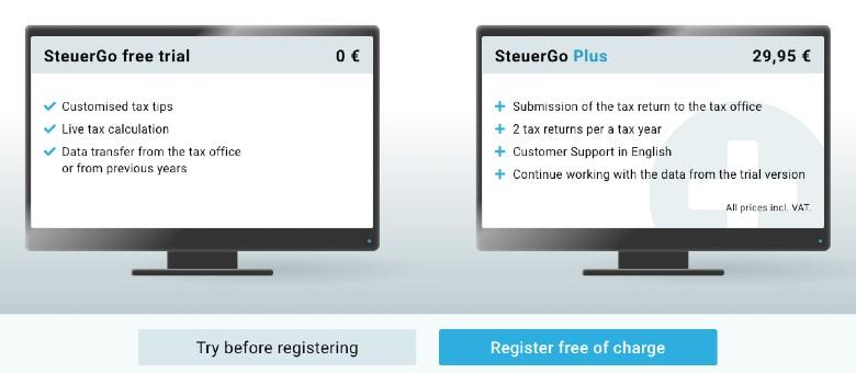 SteuerGo pricing options