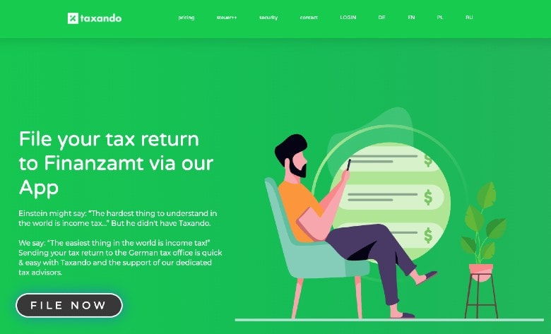 Taxando homepage