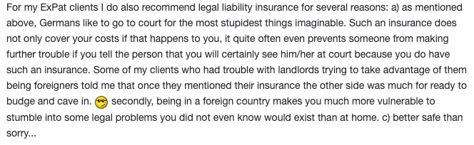 copy of Toytown thread stating why legal insurance in Germany is important