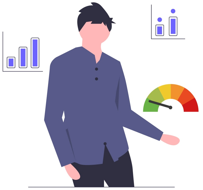 Illustration of a guy holding his Schufa score in hand