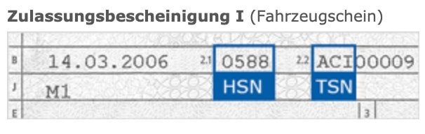 Snippet of the car registration paper to show the HSN and TSN numbers