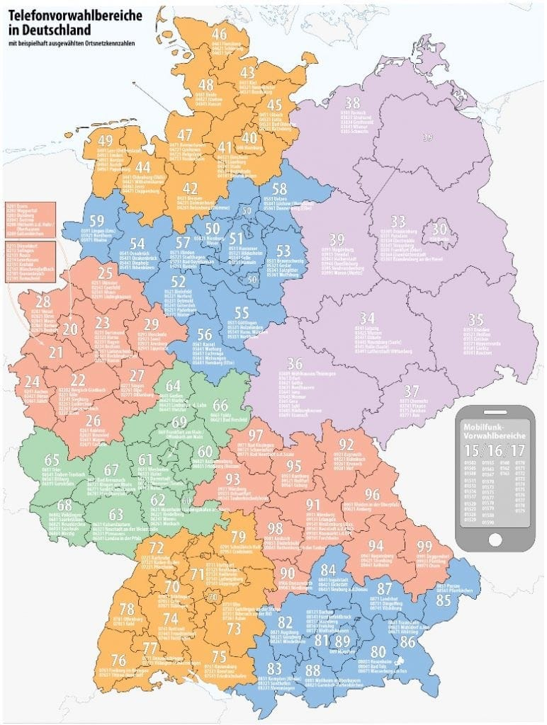 Map of phone area codes in Germany