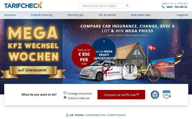 Screenshot of Tarifcheck homepage