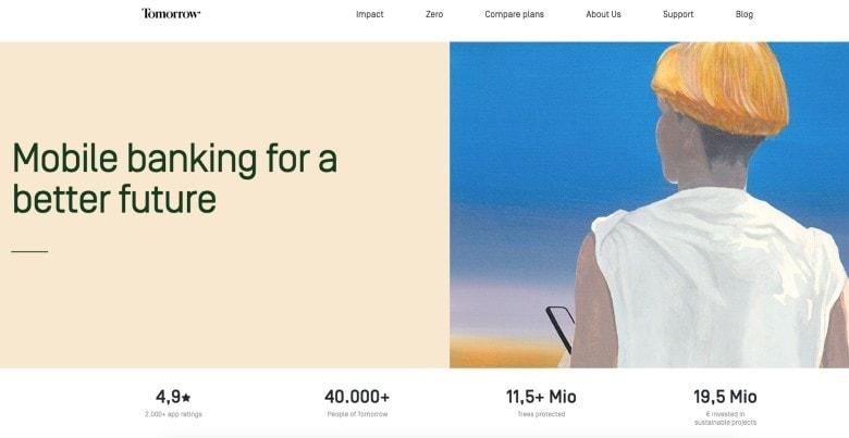 Screenshot of Tomorrow Bank homepage
