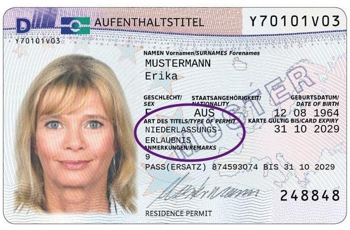 Example German permanent residence permit