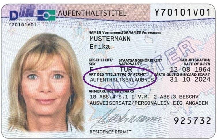 Example German temporary residence permit