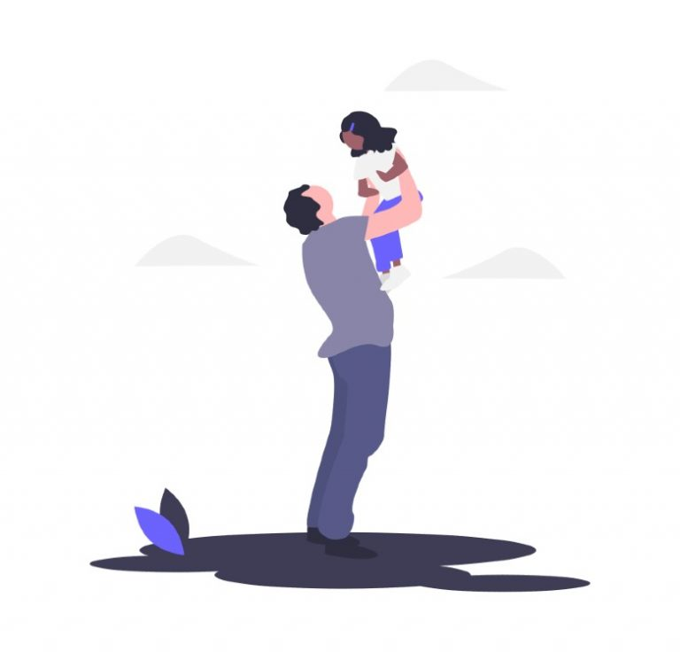 Illustration of a dad playing with his child