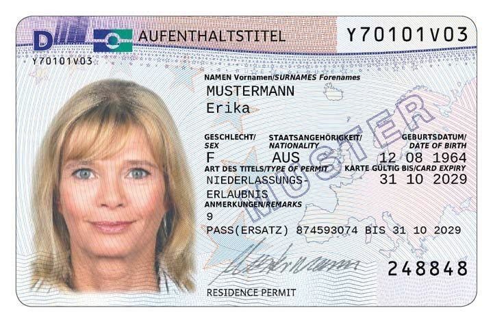 Example of a German permanent residence permit