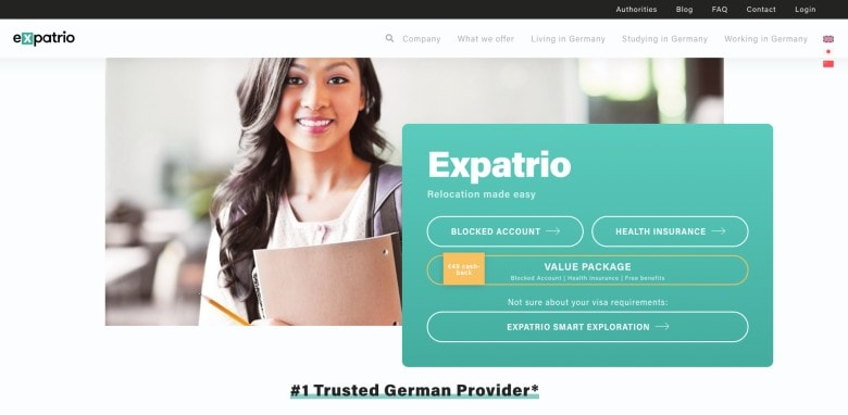 Screenshot of Expatrio Homepage