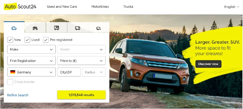 Screenshow of the filter criteria for car searches