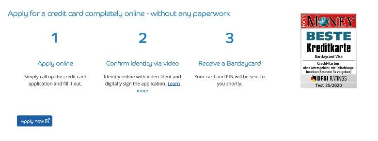 Barclaycard Visa Application
