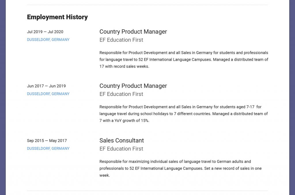 German CV Template in English - Employment History