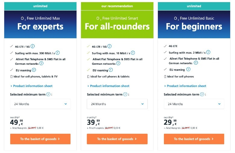 O2 unlimited data plans