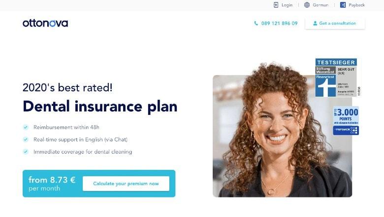 Ottonova Dental Insurance Germany Hompage