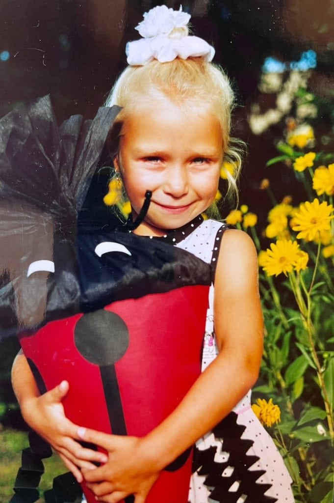 Yvonne with her school cone on her first day of school in Germany