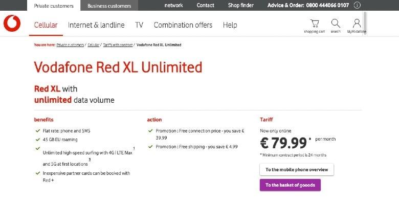 Vodafone Unlimited Internet Homepage