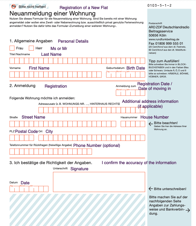 German Broadcasting Fee Sign-Up Form Translated into English