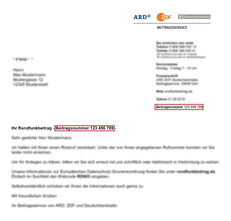 Example Letter to pay your radio tax in Germany