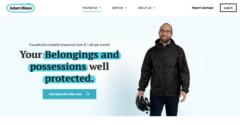Adam Riese Home Contents Insurance Homepage Screenshot