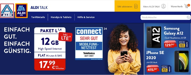 Aldi Talk Homepage Screenshot