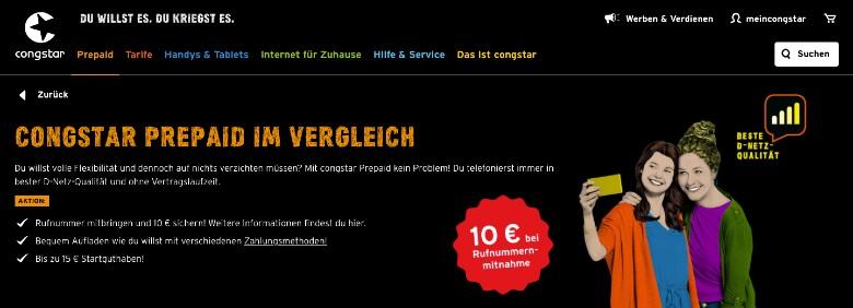 Congstar Homepage