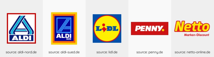 discount supermarket logos in Germany