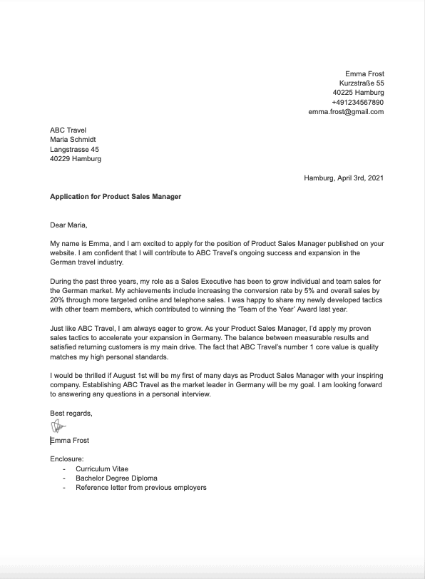 German Cover Letter Guide With English Sample