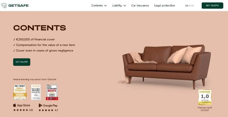 Getsafe Home Contents Insurance Homepage Screenshot