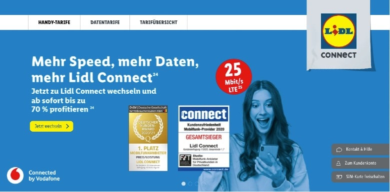 Lidl Connect Homepage Screenshot