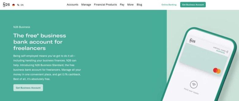 N26 Business Bank Account Homepage Screenshot