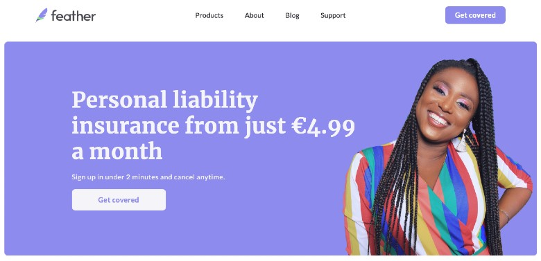 Screenshot of Feather Liability Insurance