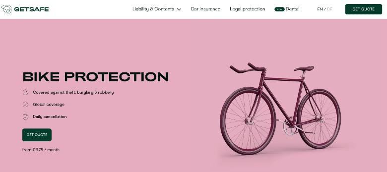 Screenshot of Getsafe Bike Theft Insurance