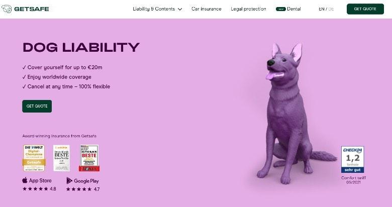 Screenshot of Getsafe Dog Liability Insurance