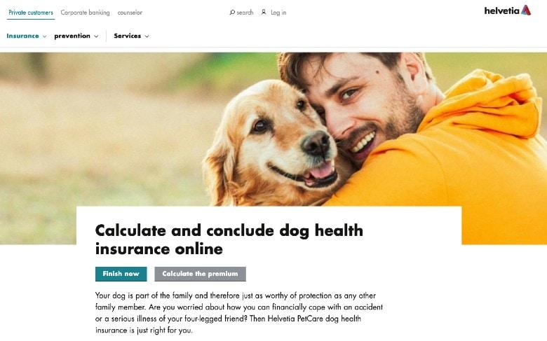 Screenshot of Dog Health Insurance by Helvetia