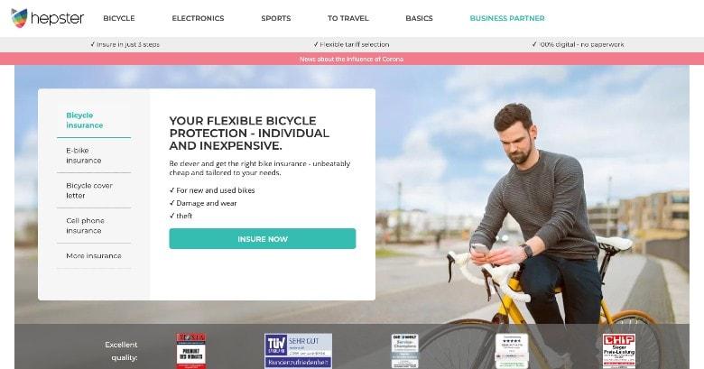 Screenshot of Hepster Bike Insurance