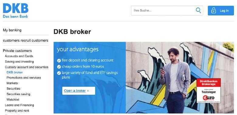 Screenshot of DKB Broker