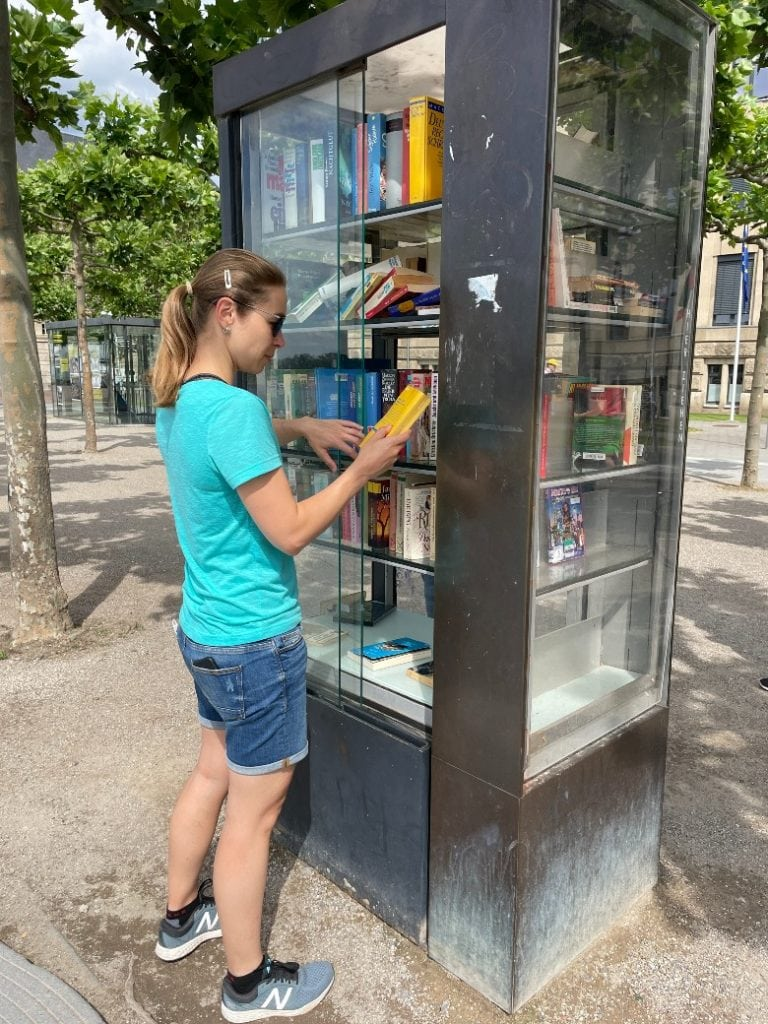 A free book exchange at the Rhein in Dusseldorf