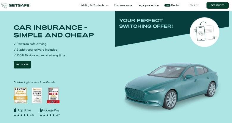 Screenshot of Getsafe Car Insurance