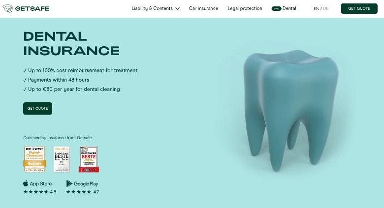 Screenshot of Getsafe Dental Insurance