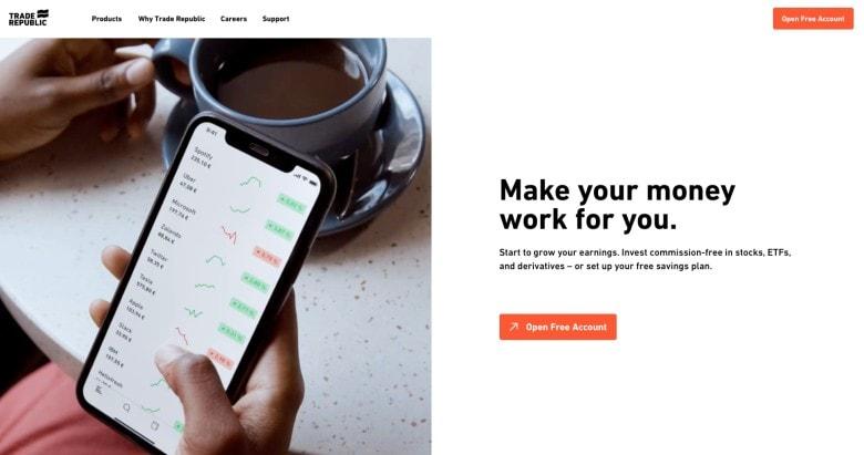 Screenshot of Trade Republic Homepage