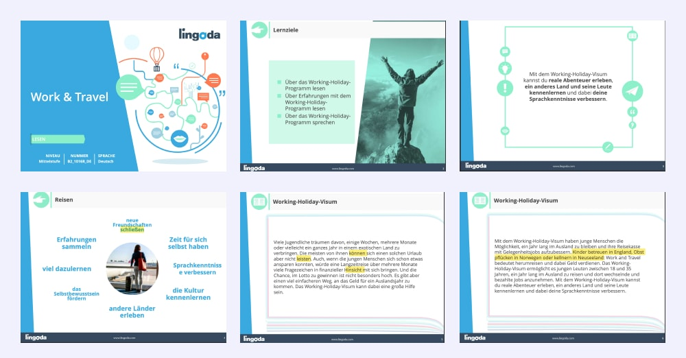 example of Lingoda teaching material
