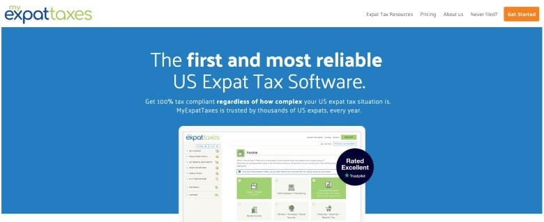 Screenshot of Homepage of MyExpatTaxes