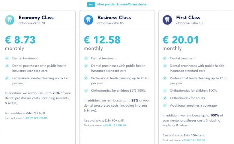 Screenshot of Ottonova Dental Insurance Plans