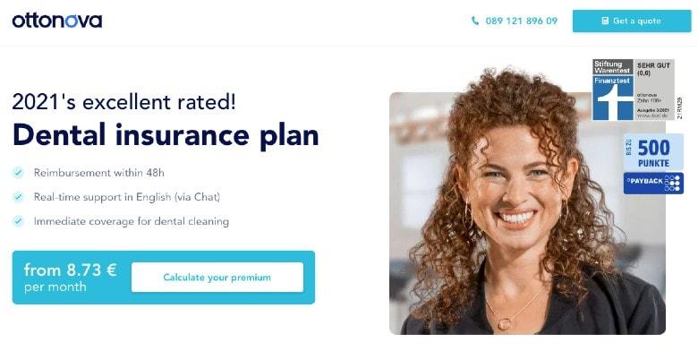 Screenshot of Ottonova Dental Insurance