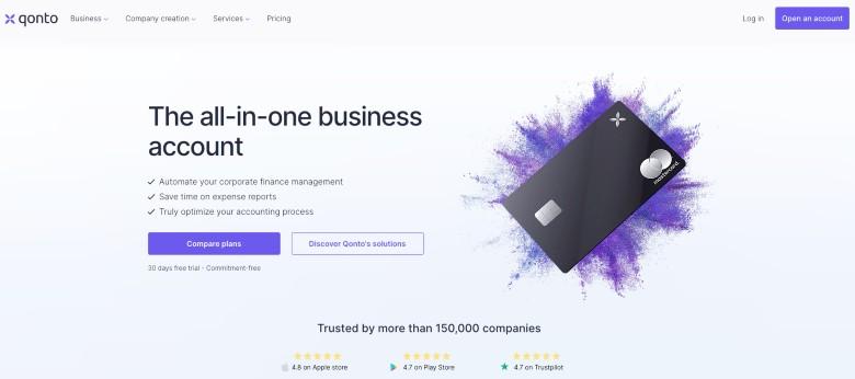 Screenshor of Qonto Homepage
