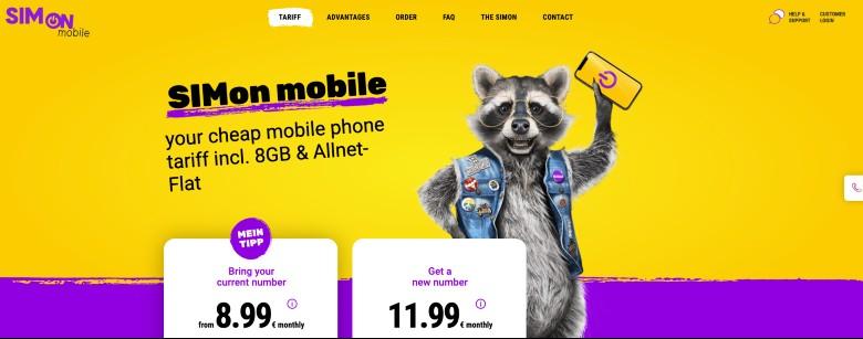 Screenshot of SIMon mobile homepage