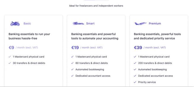 Screenshot of Qonto pricing